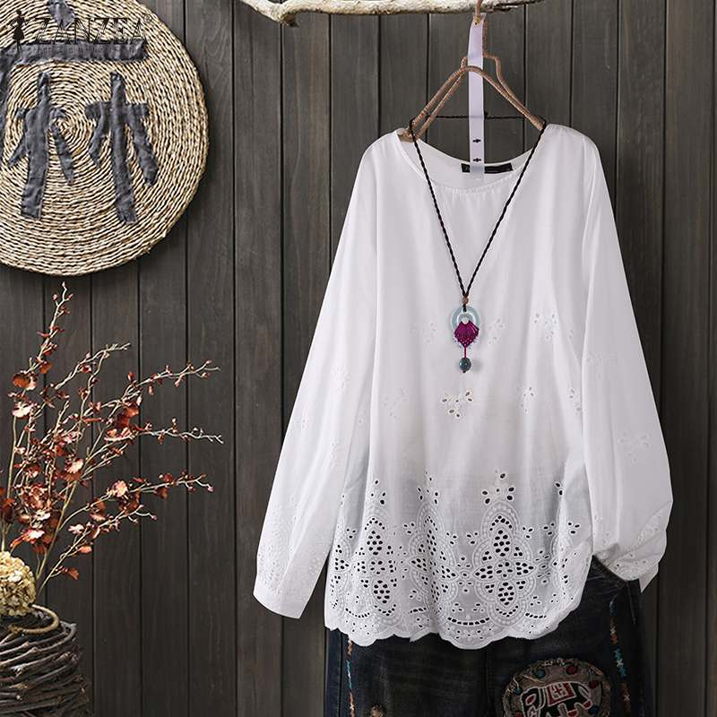 Plus Size Fashion Hollow Tops Women's Spring Blouse ZANZEA Casual Long Sleeve Shirt Female O Neck Solid Blusas Lace Tops Tunic