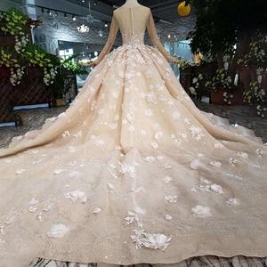 Image 2 - HTL256G свадебное платье ручной работы с цветами, роскошное бальное платье с круглым вырезом и длинными рукавами, с бусинами, со шлейфом, 2020