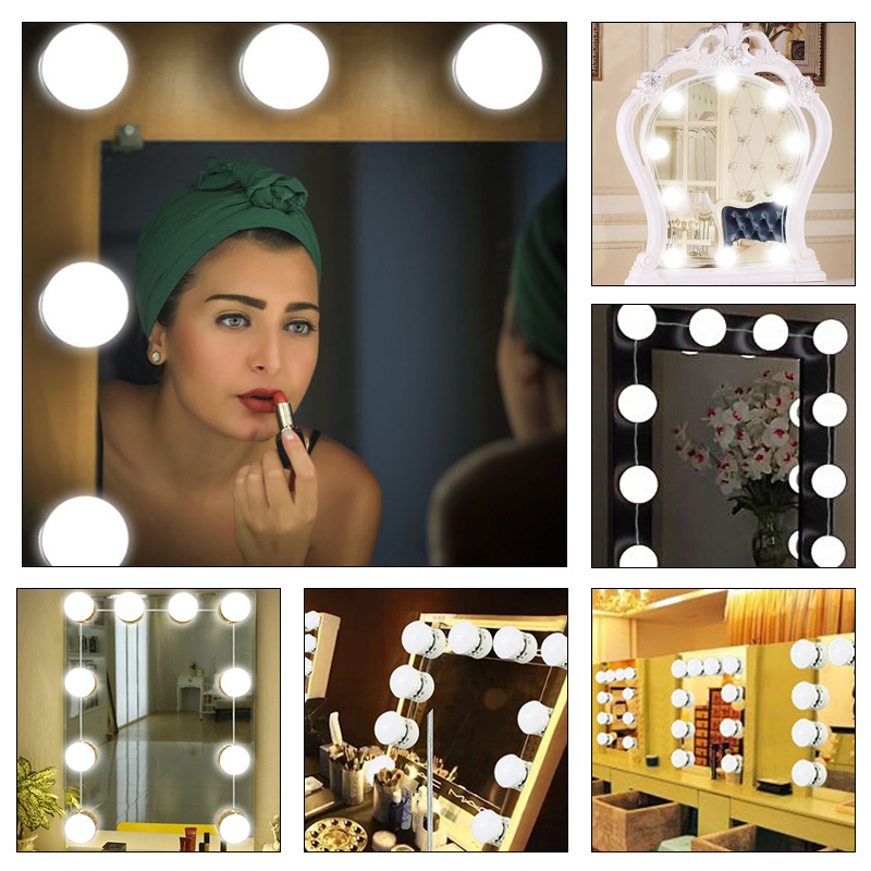 LED Mirror Lights 10Bulb Dressing Room Glamour Table Set Mirror Lights Kit Professional 3Colors Light Hollywood Style