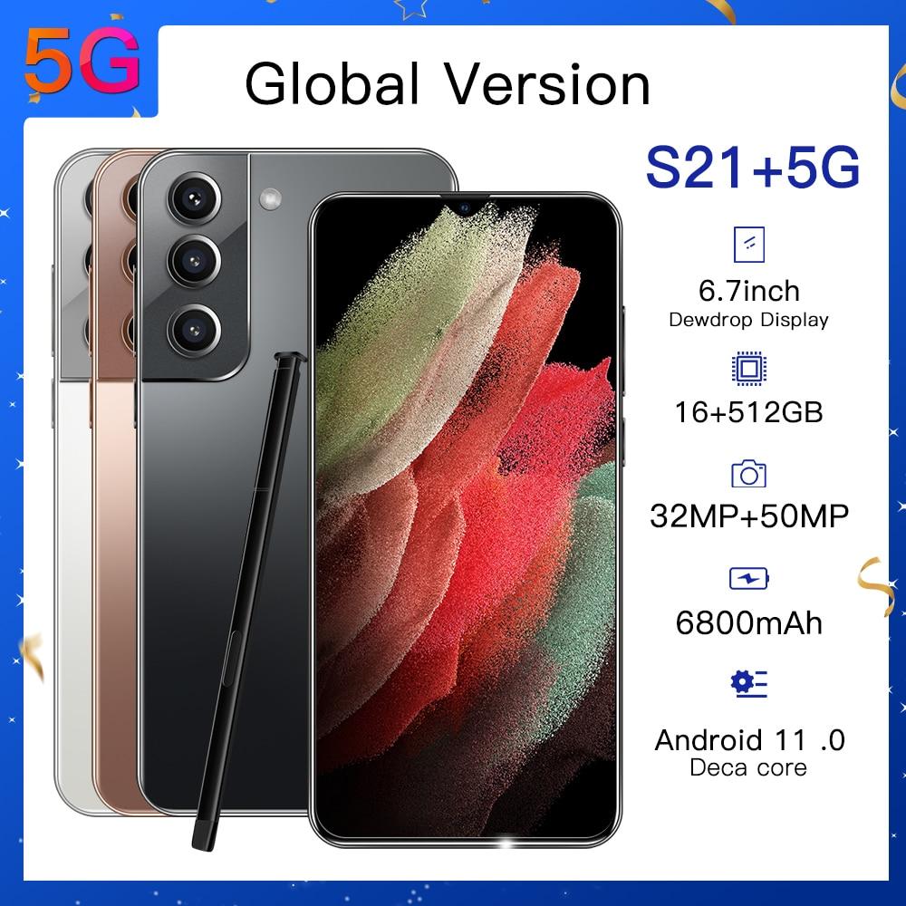 Samsum S21 + смартфонов глобальная версия 6,7 Inch 512GB устройство, док-станция Qualcomm 888 6800 мА/ч, мобильный телефон, не блокируется, Две сим-карты для моб...