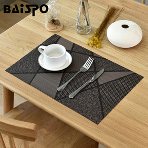 Baispo PVC 4 Pcs/set Heat Resistant Mat Dining Placemat Drying Mats For Dishes Coaster Rug For Bowls Rug For The Kitchen Table(China)