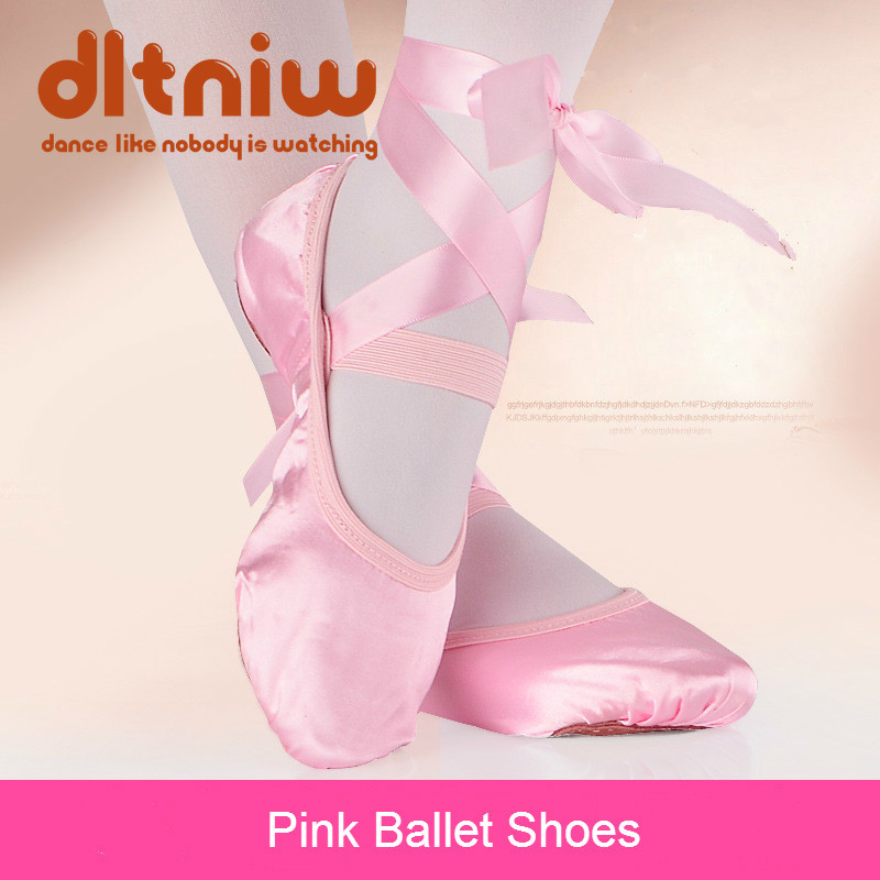 Satin Ballet Shoes With Ribbon Straps Round Toe Indoor Yoga Shoes Adult Girls Soft Split Sole Satin Dance Ballerina Shoes