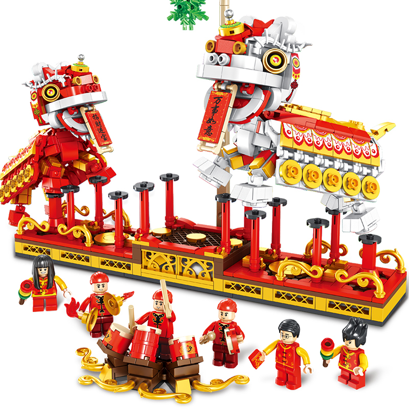 Traditional Culture Series Building Blocks Chinese Dragon Lion Dance Bricks Model Toys For Children New Year Gifts Fit Lepining