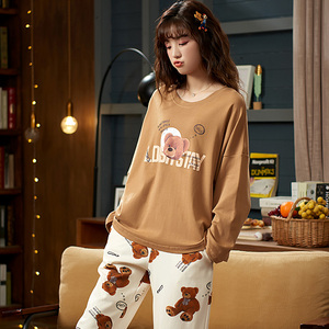 Image 3 - M L XL XXL 3XL 4XL 5XL uzun kollu kadın kıyafeti pijama 100% pamuklu gecelik setleri sonbahar pijama kadın pijama