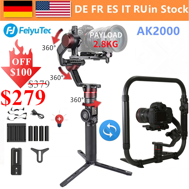 FeiyuTech AK2000 3-ציר מצלמה כף יד Gimbal מייצב MaxLoad 2.8KG עבור ניקון D850 Sony A9 A7III A7S A7R canon 5 5DIII 5DSR