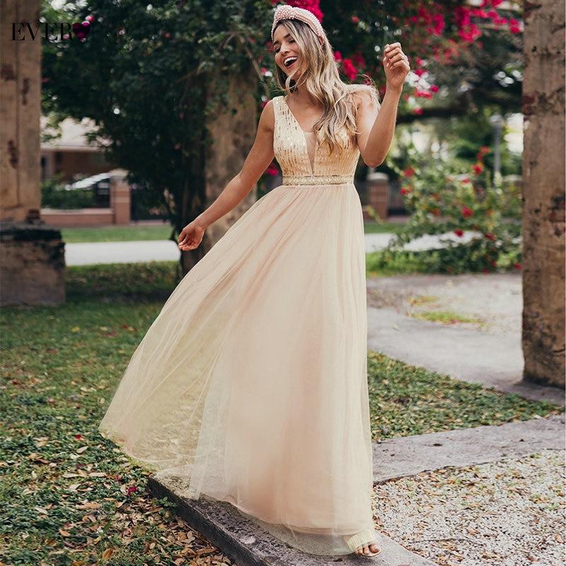 Sexy Prom Dresses Ever Pretty Deep V-Neck A-Line Sequined Tulle Sleeveless Rose Gold Formal Dresses For Party Vestido De Festa