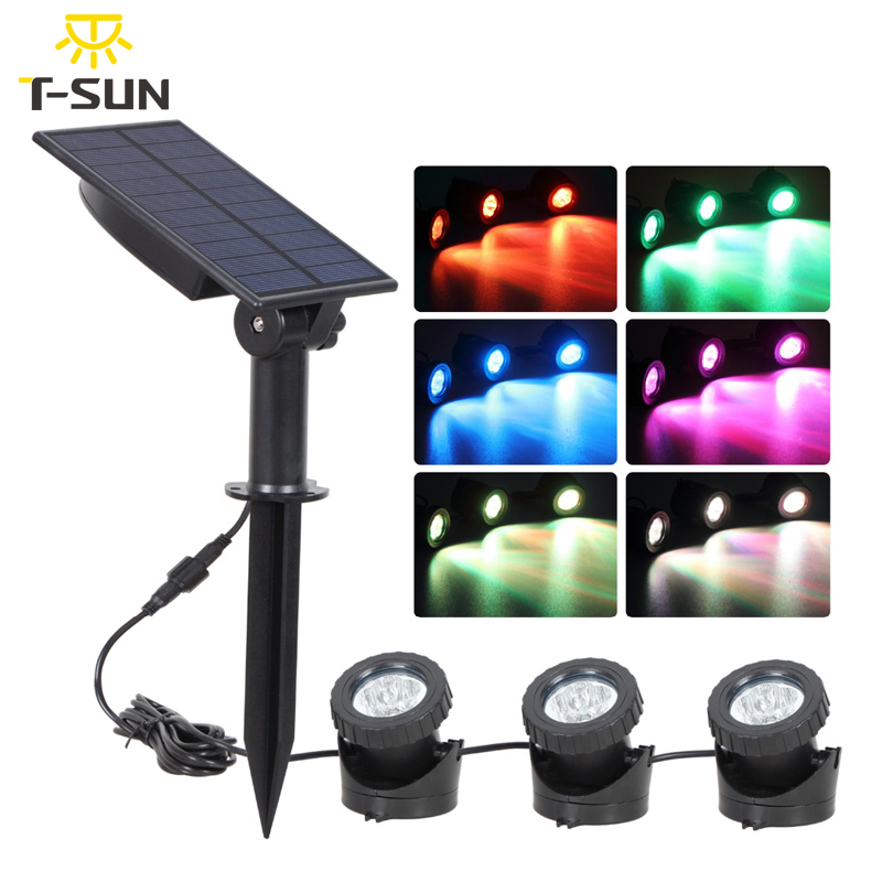 T-SUNRISE Solar LED Light Underwater Pond Light Waterproof 3 Submersible Lamps Projector Light Garden Led Pool Light Solar Power