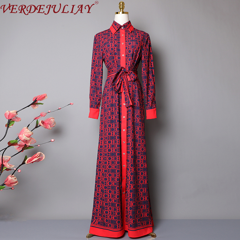Luxury Letters Printed Dresses Spring Autumn Summer Runway Long Sleeve Dress Turn down collar Shirt Party Dress Women|Dresses| | - AliExpress