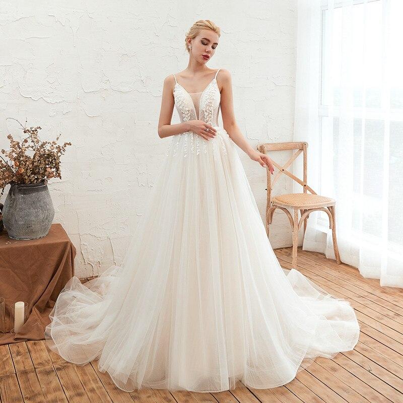 Sexy A Line Lace Wedding Dress 2019 Robe De Mariee Romantic 3D Flowers Spaghetti Straps Wedding Gowns Vestido De Noiva