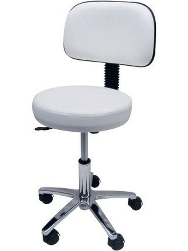 Stool WORK 4, Chrome, Gas, Upholstered Similpiel Black Or White