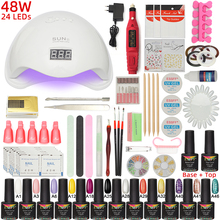 ESSFF Nail Set 48W SUNX Plus UV LED Lamp Dryer With Nail Gel Polish Kit Soak Off Manicure Set Gel Nail Polish For Nail Art Tools gel polish nail art tools kits 36w uv led nail dryer lamps uv gel polish polish gel manicure machine set nail file remover tools