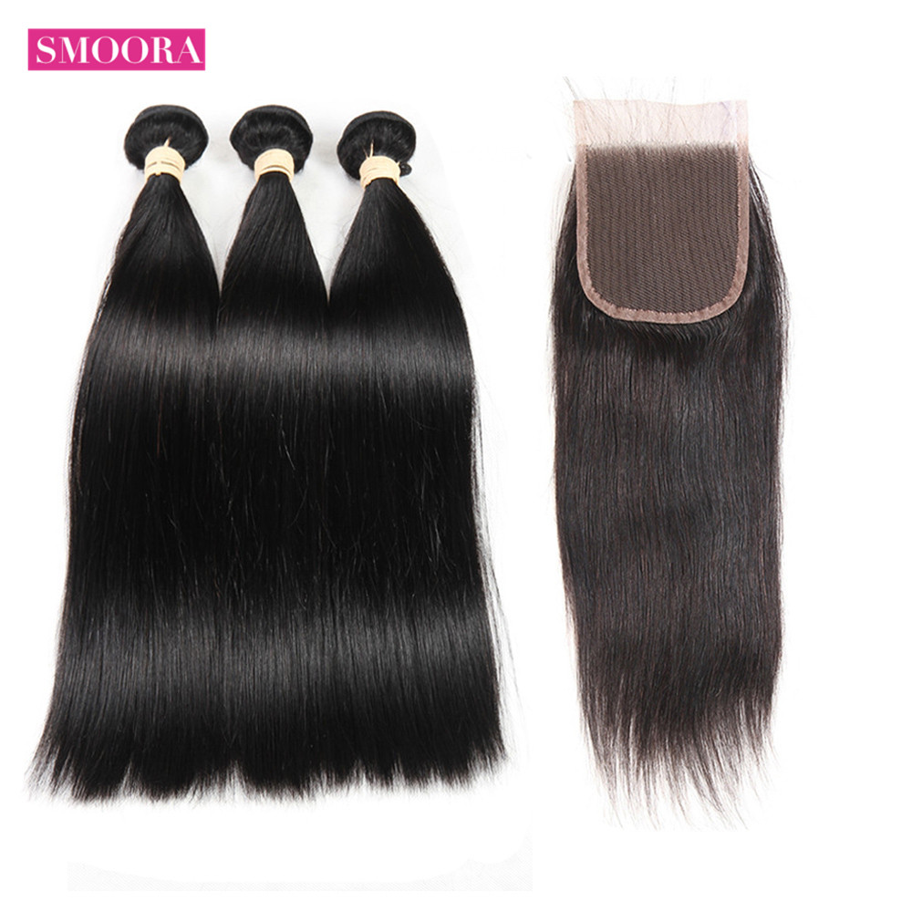 Straight Bundle with Closure Non- Bundles With Closure Pre Plucked Baby Hair s Natural Color 3