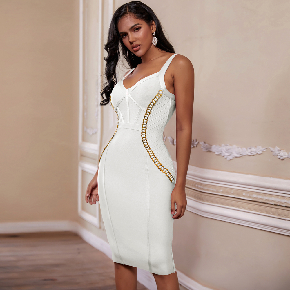 Ocstrade Vestido Bandage 2020 New Arrival Chain Embellished Women White Bandage Dress Bodycon Celebrity Evening Club Party Dress