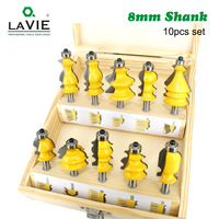 LAVIE 10pcs 8mm Shank Architectural Molding Handrail Router Bits Set Casing Base CNC Line Woodworking Cutters Face Mill MC02070