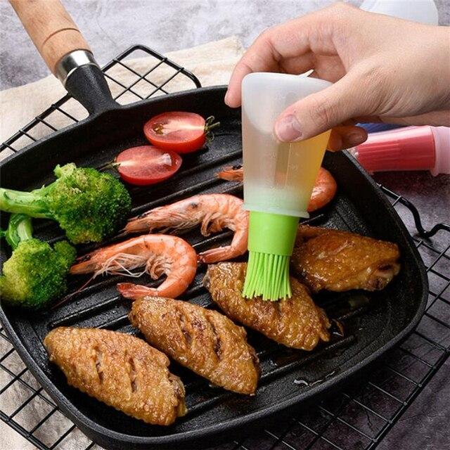 Bouteille dhuile Portable en Silicone avec brosses de gril, brosses à huile liquide pâtisserie, outils de cuisson de BBQ, accessoires de cuisine, Gadgets