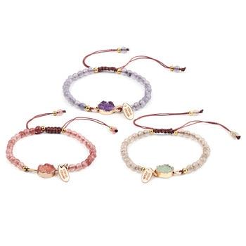 Artilady Natural Stone Bracelets for women Rope Chain Bracelet Handmade Quartz Jewelry for Women fyjs unique handmade weave natural rose pink quartz pendant rope chain necklace cylinder jewelry