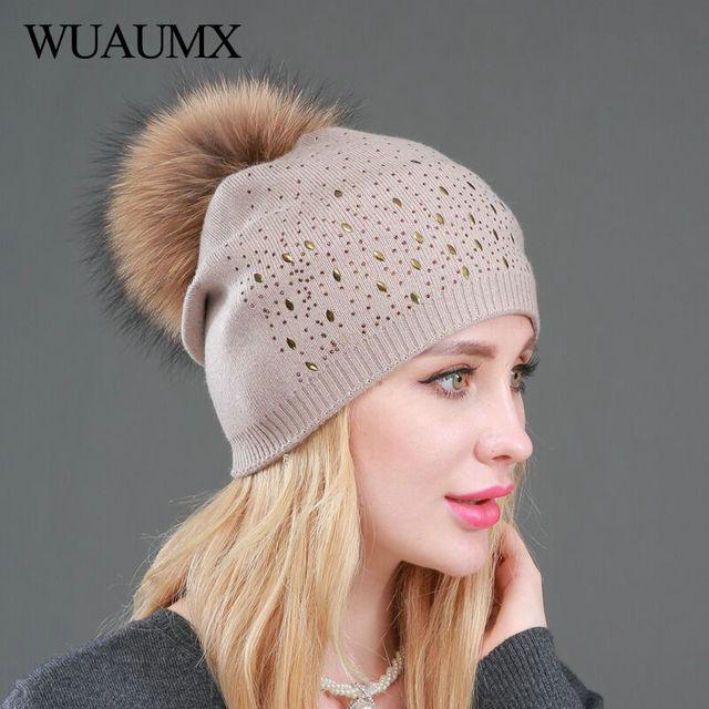 Gorros de invierno de mujer pompón de doble capa de lana de punto