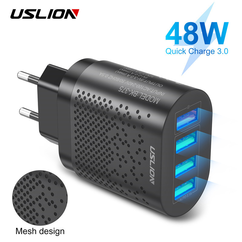 USLION EU/US Plug USB Charger 3A Quik Charge 3.0 Mobile Phone Charger For iPhone 11 Samsung Xiaomi 4 Port 48W Fast Wall Chargers