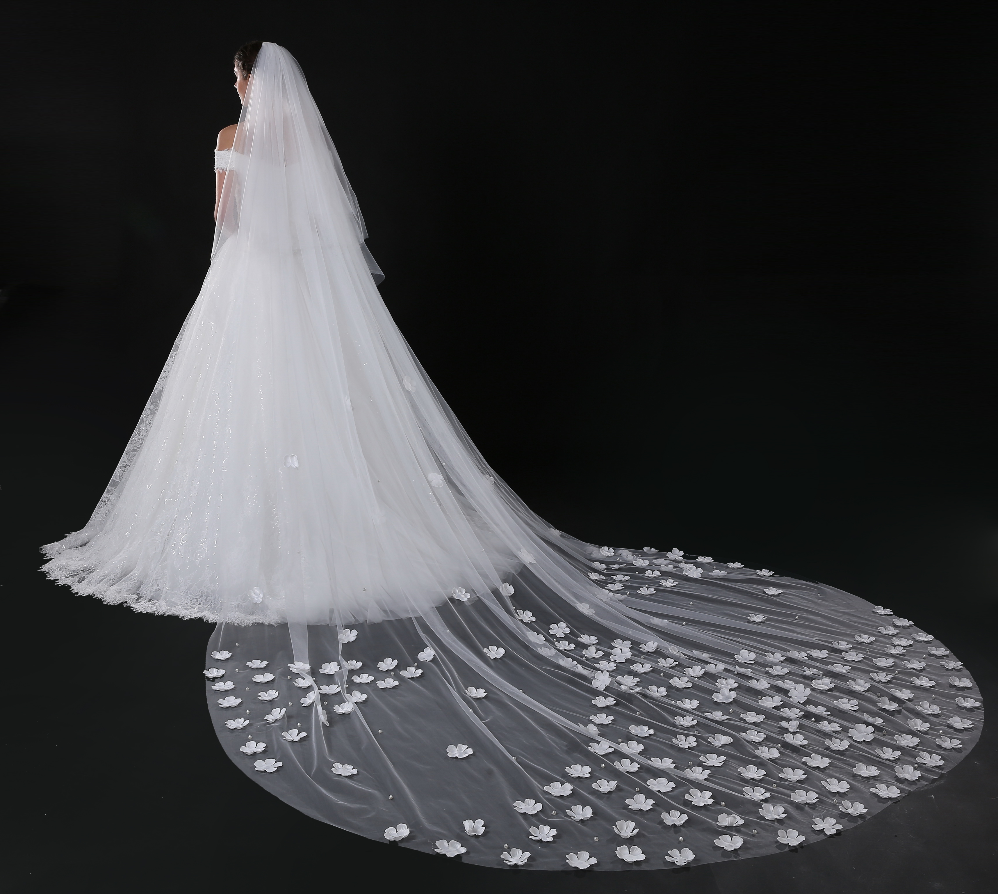 2020  Wedding Veils  5 Meter One-Layer Long Lace Edge Bridal Veil with Comb Wedding Accessories Bride  Wedding Veil