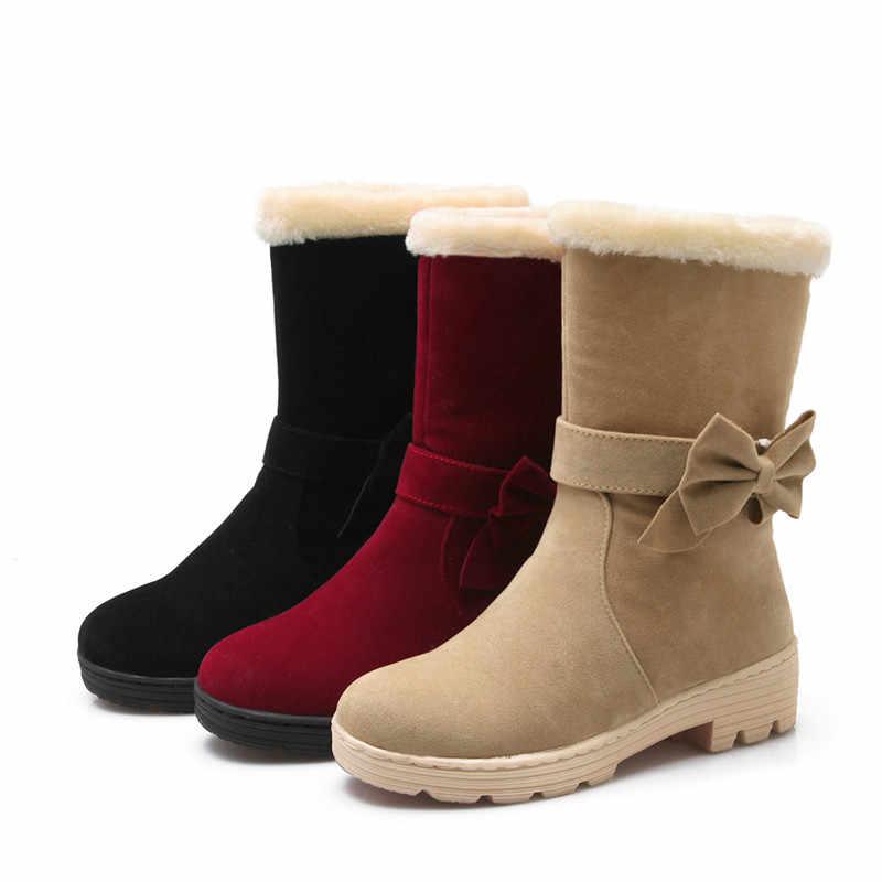 Asumer 2020 Thời Trang Winte Giữ Ấm Nữ Giày Mũi Tròn Trơn Trượt Trên Phụ Nữ Mắt Cá Chân Giày Med Gót Thoải Mái Nữ Tuyết giày