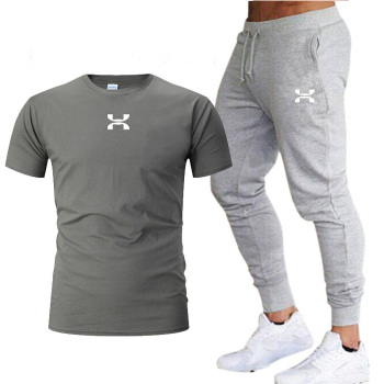 2020 Summer New Fashion Trend Men's Suit Cotton Sports Short-sleeved T-shirt + Sports Casual Trousers Suit Sportswear Men's Suit