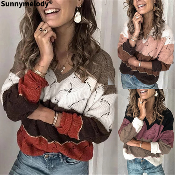 2020 autumn winter new fashion casual loose multi-color patchwork knit top sexy hollow out V-neck sweater home cut out neck back knit top