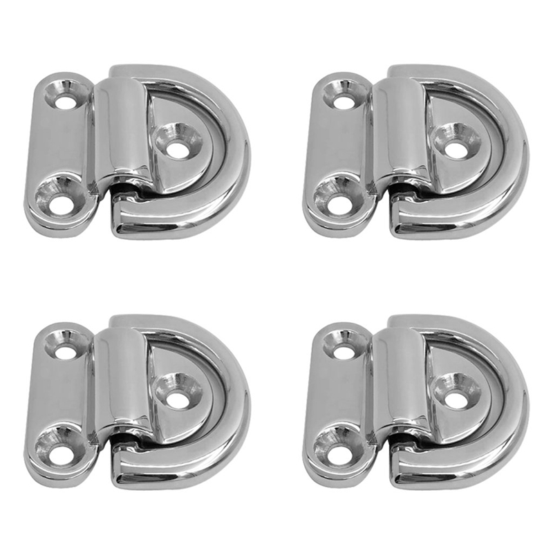 LIXF 316 Stainless Steel Folding Pad Eye Deck Lashing D Ring Tie Down For Boat Marine
