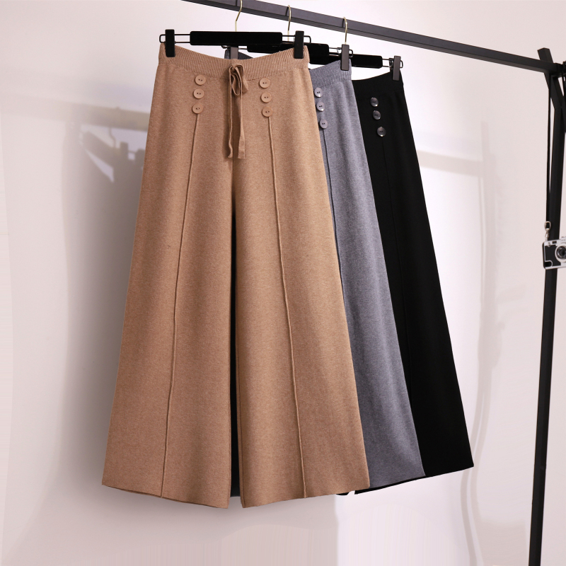 Women   Pants   Plus Size Knitted   Pants   Casual Loose Big Yards Trousers Autumn Winter Warm knitwear Elastic Waist   Wide     Leg     Pants