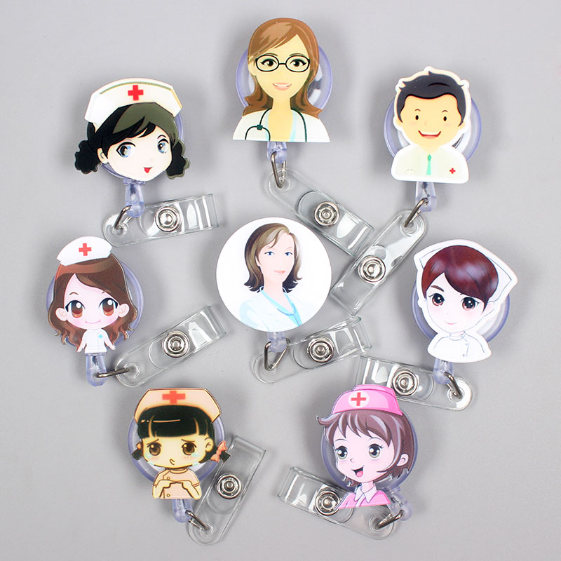 24 Styles Cartoon Nurse Retractable Pull Badge Reel ID Lanyard Name Tag Card Badge Holder Reels Doctor Nurse Supplies