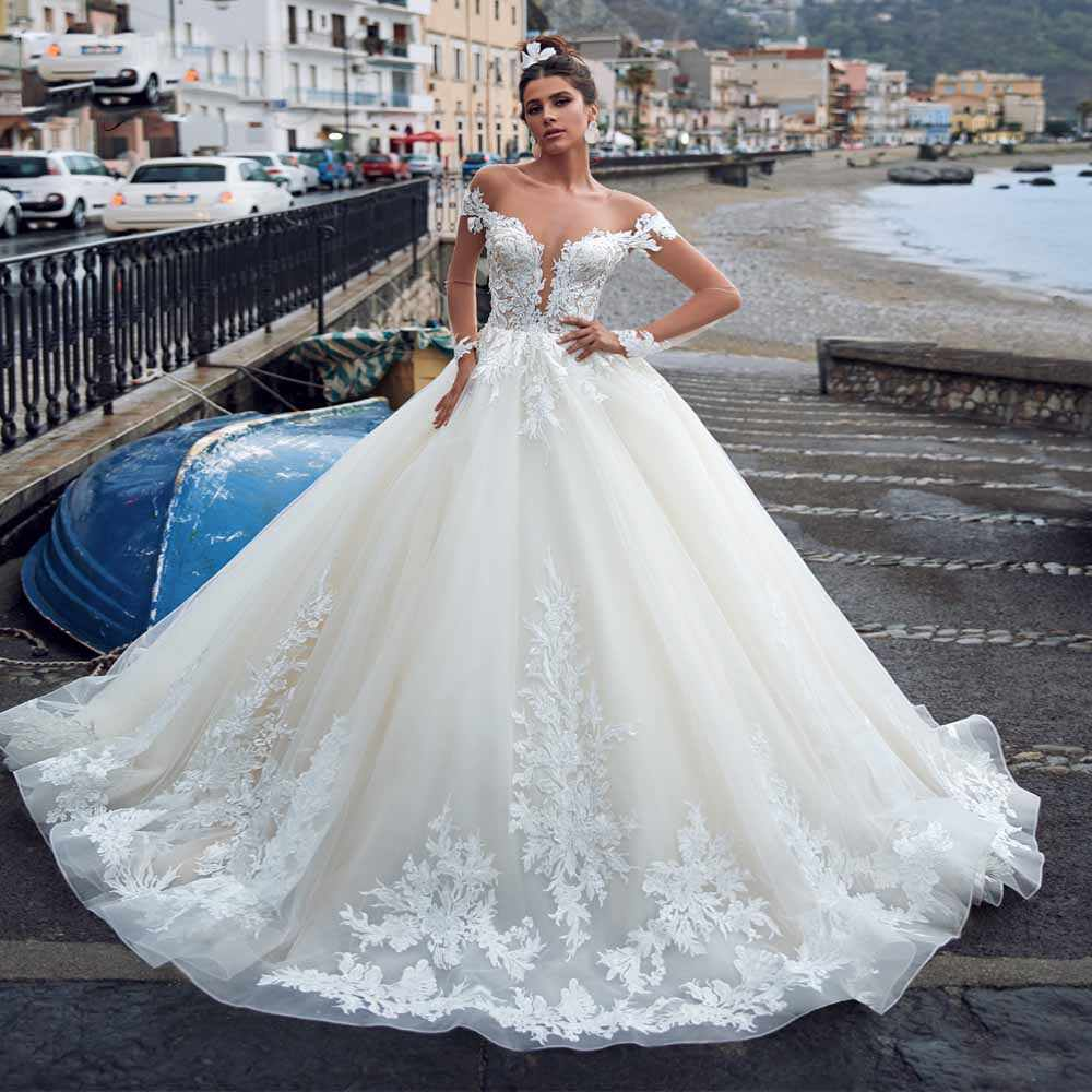 2020 skin tulle long sleeves wedding dress plus size ball gown bridal dresses scoop neck bride gowns robe de mariee