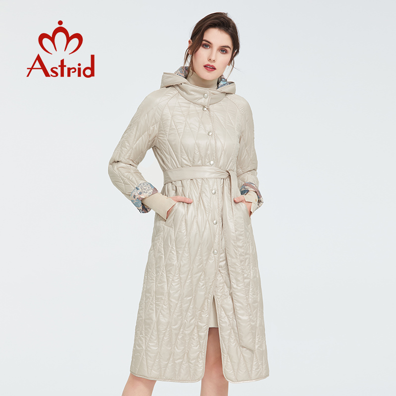 Astrid 2020 Spring Warm Thin Cotton Jacket Long Loose Clothing Female Plus Size Long Coats With а Belt Coat Women  ZM-9428