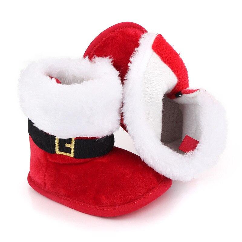 Детские Рождественские ботинки, дизайнерские зимние теплые тапочки с милыми снежинками и Сантой, Нескользящие ботинки для новорожденных, в...