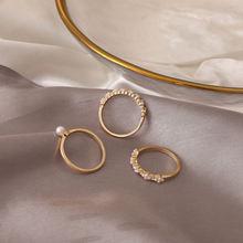 3 шт/компл модные стразы жемчужные кольца набор геометрических