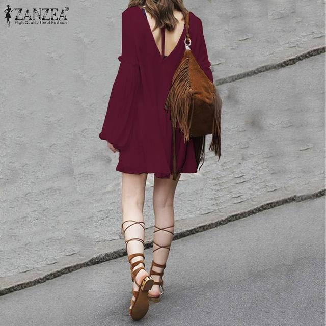 Women's Dress ZANZEA Bohemian Loose Long Shirt Dresses Fashion Ladies Sexy Lace Up Backless Vestidos Short Dresses Plus Size 5XL 3