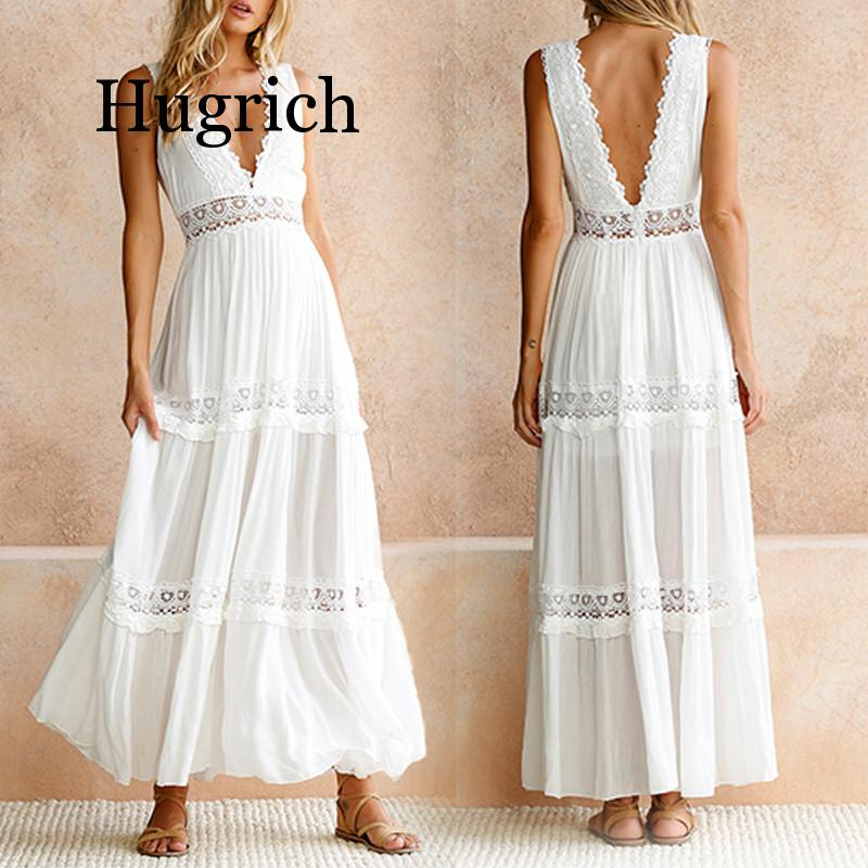 2020 Deep V Elegant White <font><b>Lace</b></font> <font><b>Sexy</b></font> <font><b>Dress</b></font> Women <font><b>Backless</b></font> <font><b>Hollow</b></font> Out Summer Long Maxi <font><b>Dresses</b></font> Female Clothing S M L XL image