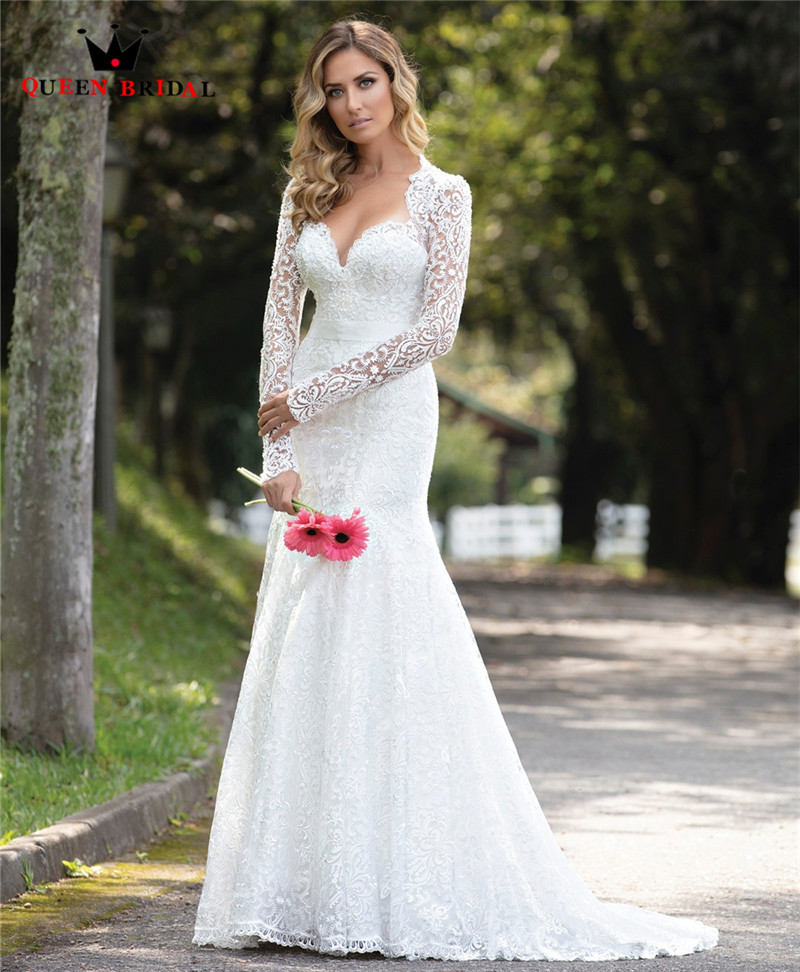 Customize 2020 New Design Wedding Dresses Mermaid Sweetheart Long Sleeve Lace Sexy Formal Wedding Gowns CO03