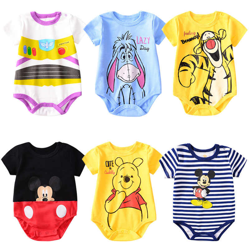 Baby Mickey Clothing 100% Cotton Unisex Romper Baby Boys Girls Short Sleeve Summer Cartoon Bear Tiger Toddler Cute Clothes 0-24M