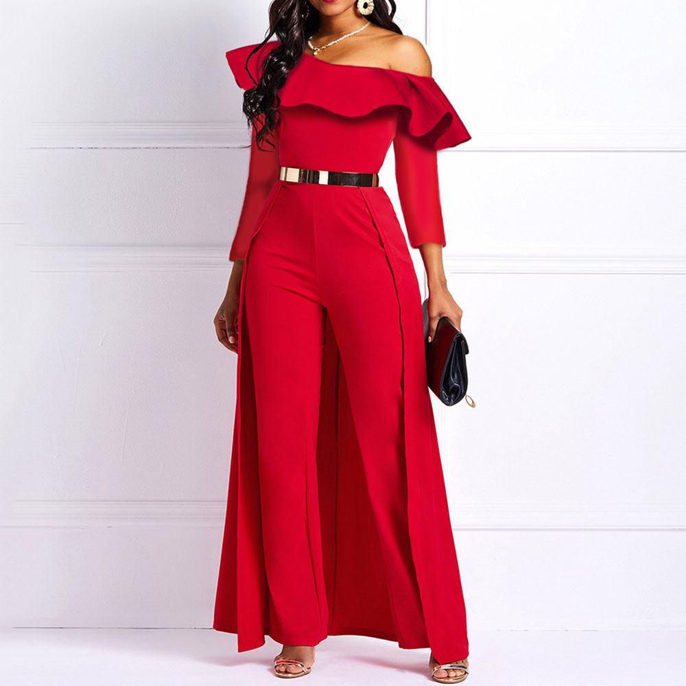 Wide Leg   Jumpsuits   for Women Slash Neck Long Sleeve Casual Elegant Femme Party Swallowtail High Waist Straight Plain   Jumpsuits