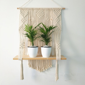Image 3 - Macrame Hanging Planter Basket Wall handmade plant hanger pot indoor purl edging and wood bead  Party Wedding Home Decoration