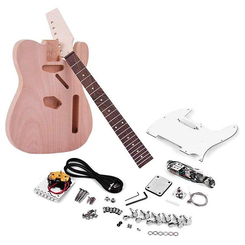 Kit de bricolage guitare électrique inachevé pour TL Tele Style guitare guitare outil Fretboard pick-up acajou cou bois