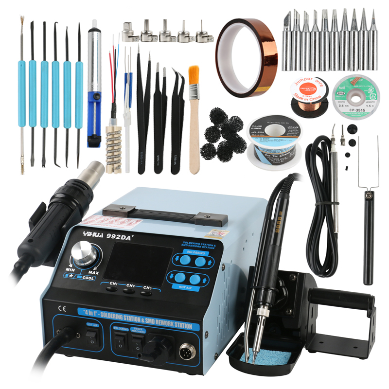 YIHUA 992DA+ 3 In 1 Hot Air Rework Soldering Iron Station Smoke Vacuum BGA Soldering Rework Station