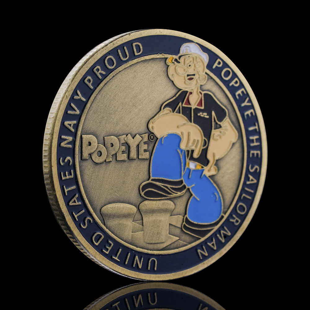 Popeye Anime Characters Cartoons Coin Medal Antique Currency Collectible Challenger Challenge Coins USA Souvenirs Gift
