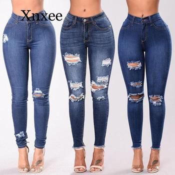blue hole long pants denim  Casual Womens Ladies High Waisted Skinny Ripped Denim Pants Slim Pencil Jeans Trousers Blue