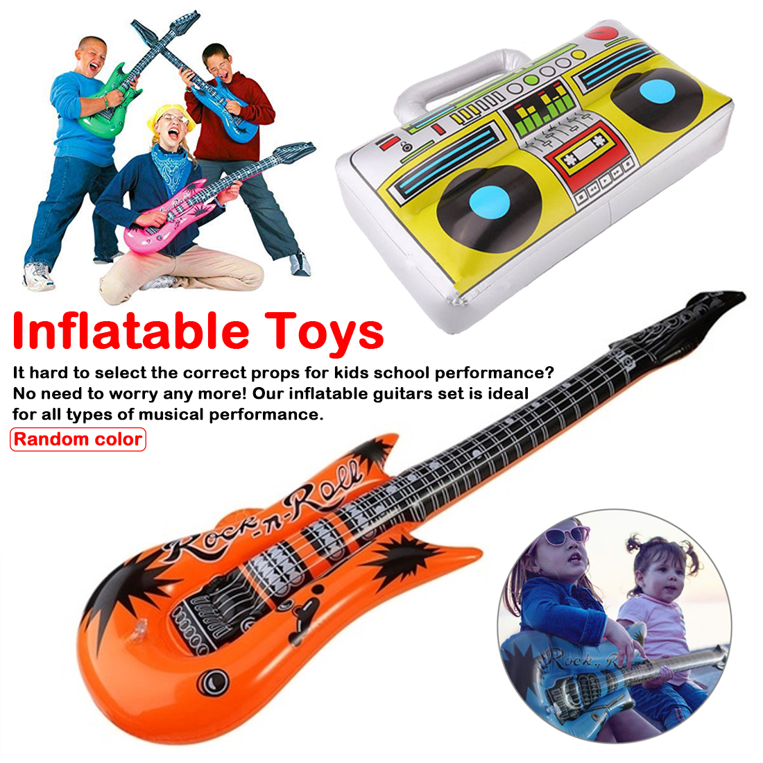 5Style PVC Inflatable Instrument Toys For Children Carnival Party Music Band Pretend Game They Play Accessories For Kids