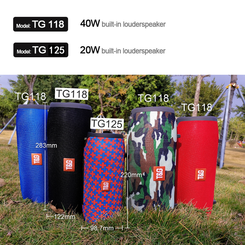 TG118 Really 40W Bluetooth Speaker Portable Column Music Player Sound System Boom Box with FM Radio TF Subwoofer Double 6