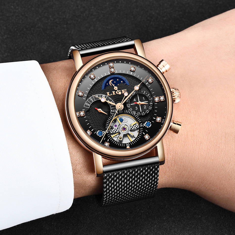 He8b3529c98f94dae8b839002e28db2fck LIGE Gift Mens Watches Brand Luxury Fashion Tourbillon Automatic Mechanical Watch Men Stainless Steel watch Relogio Masculino