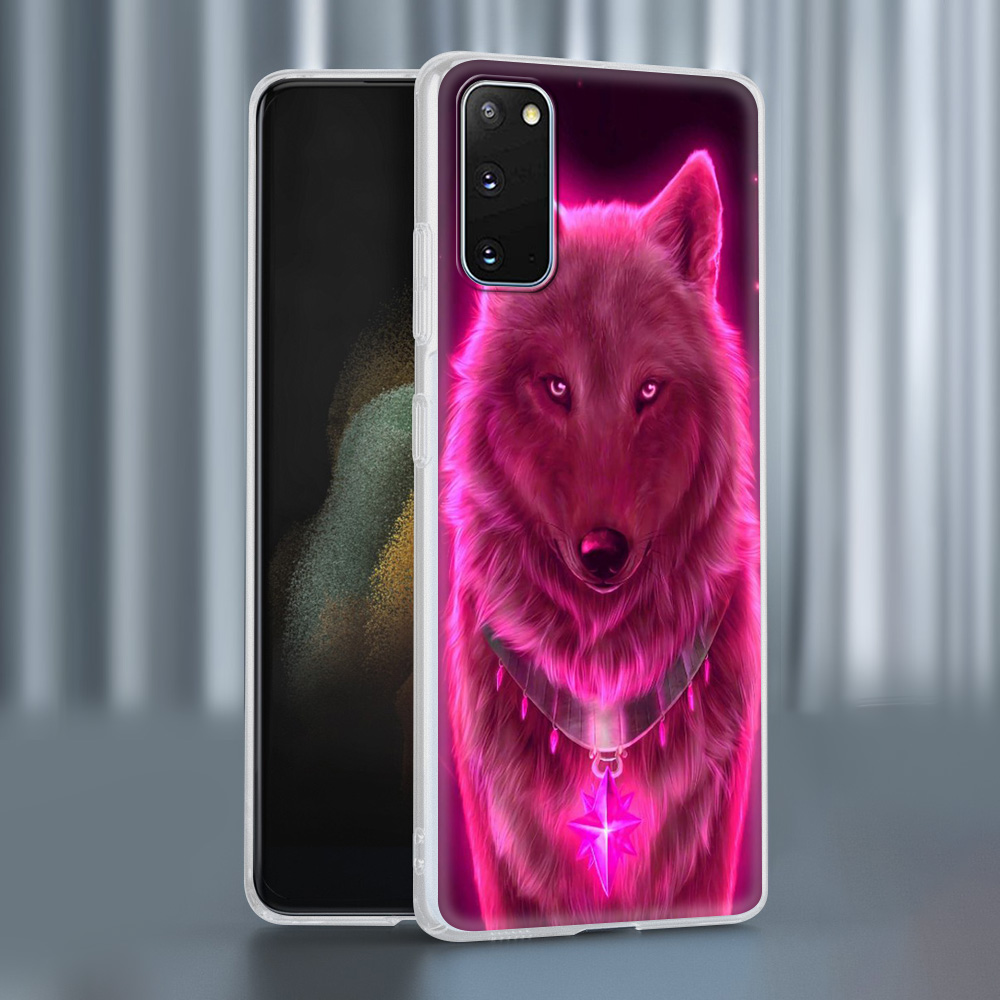 Case For Samsung Galaxy S20 FE S21 Ultra S9 S10 Plus S8 Note 20 10 Lite Soft Frosted Phone Cover S7 Funda Cute Animal Wolf Sky