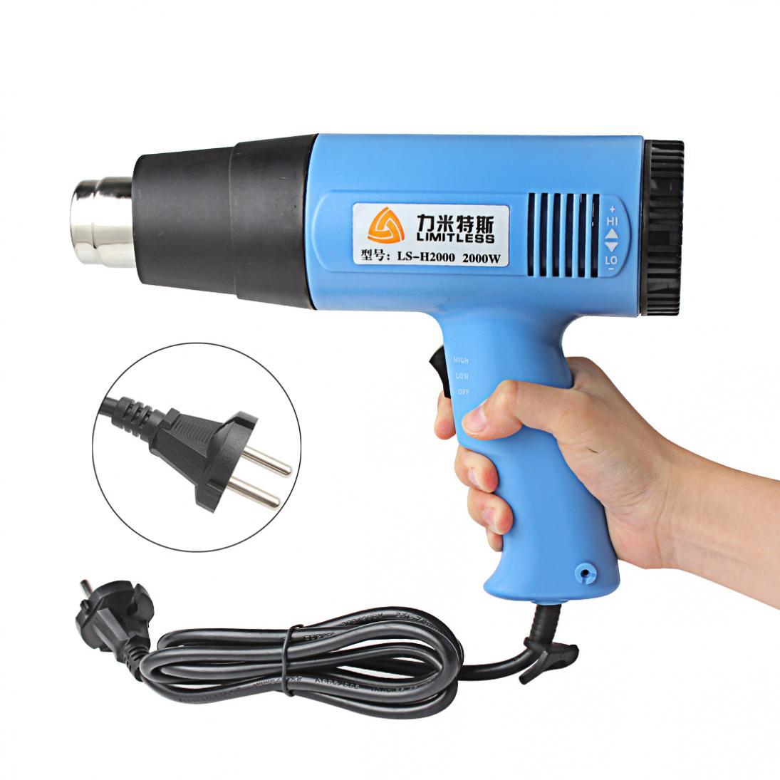 AC 220V 2000W Hot Air Gun Temperature Adjustable Industrial Electric Heat Gun Hotair Gun EU Plug for Stripping Shrink DIY|Heat Guns| |  - title=