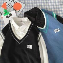 Sweater Clothing Korean Man Men's Sleeveless New Winter Streetwear Loose Casual Fashion