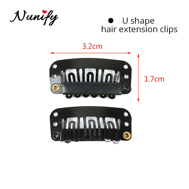 Nunify Remy Haar Clip Platte Haar Clips Draad Vorm Weave Toupetje Pruik 9 Tanden Pruik Kapsel Accessoire Gereedschap Hair Extensions clips